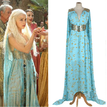 Game of Thrones Daenerys Targaryen Cosplay Costume Halloween party long Blue Dress wonder woman cosplay dress
