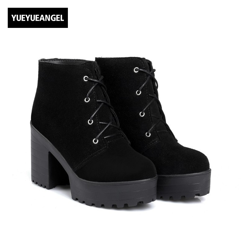 Winter Cow Suede Womens Ankle Boots Thick High Heel Platform Retro Preppy Riding Boots Lace Up Zapatos Mujer Round Toe Footwear punk platform creepers shoes womens round toe patent leather block high heel pumps lace up riding ankle boots shoes plus size