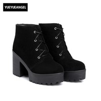 Winter Cow Suede Womens Ankle Boots Thick High Heel Platform Retro Preppy Riding Boots Lace Up Zapatos Mujer Round Toe Footwear
