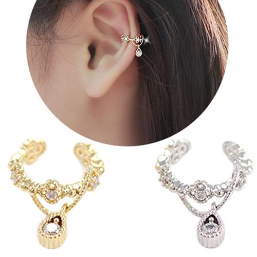 Punk Trendy Ear Cuff Rhinestone Cartilage Clip Earring Non Piercing For Women 5uel 6hpi 7ism Fine Workmanship Clip Earrings