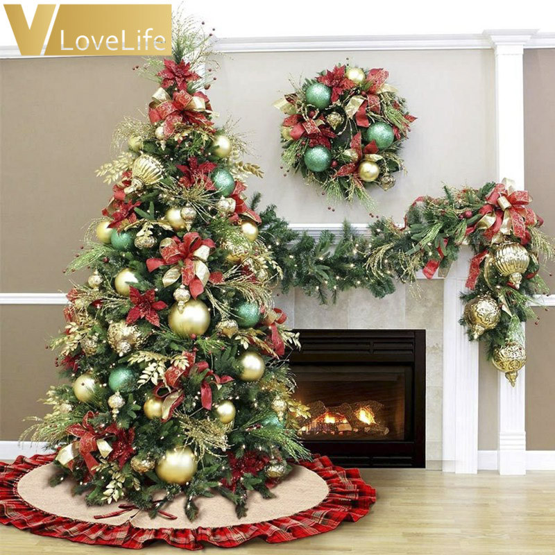 aliexpresscom buy 48 christmas tree skirt black and red plaid christmas burlap tree skirt ruffle edge christmas ornaments party decoration from reliable