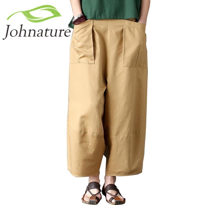 Johnature 2018   Wide     Leg   Loose Women   Pants   Big Pockets Cotton Linen Ankle-length Casual Loose Trouser