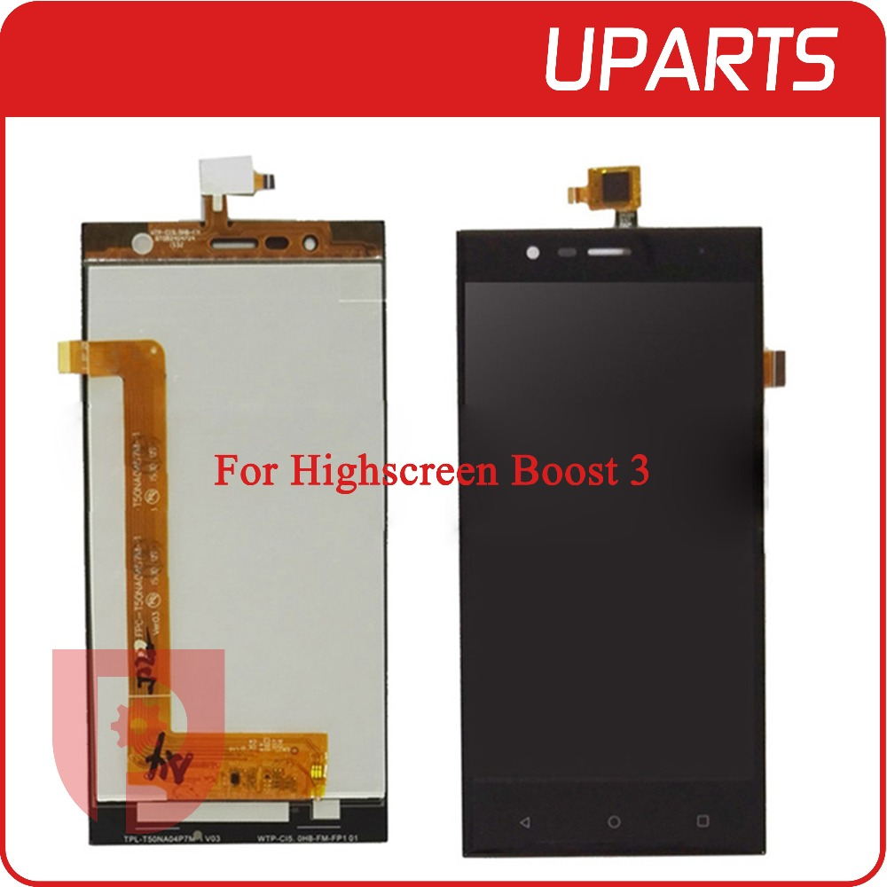 A+++ High Quality 5.0 For Highscreen boost 3 LCD Display + Touch Screen Digitizer Assembly Black Free Shipping Tracking Number