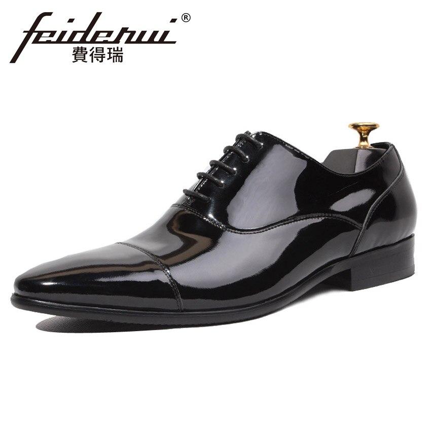 Oxfords Cuero A Lujo Fiesta Puntiagudo Del Diseñador Boda Zapatos Banquete Italiano Hecho Genuino Hqs147 Vestido De Los Pie patent Mano Formal Hombres Hombre Leather Dedo Negro t1zZdwYq