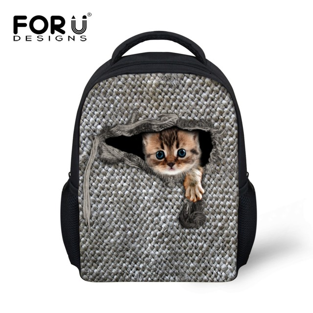 FORUDESIGNS Kids 12inch Casual Backpacks For School Kindergarten Mochila Funny  Cat Printing Small Backpacks Preschool Baby Bags 8bdd46c378b58