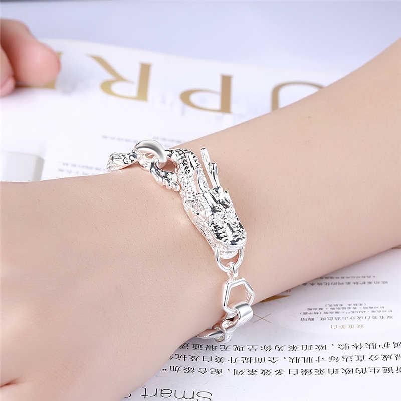 Новое поступление 925 серебряный цвет браслет манжета для мужчин и женщин дракон браслет 925 серебряные ювелирные изделия вечерние подарок