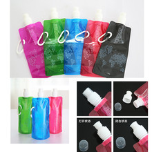 1 Piece Random Color Portable folding water bottle Bladder outdoor sport portable folding water bag 480 ML