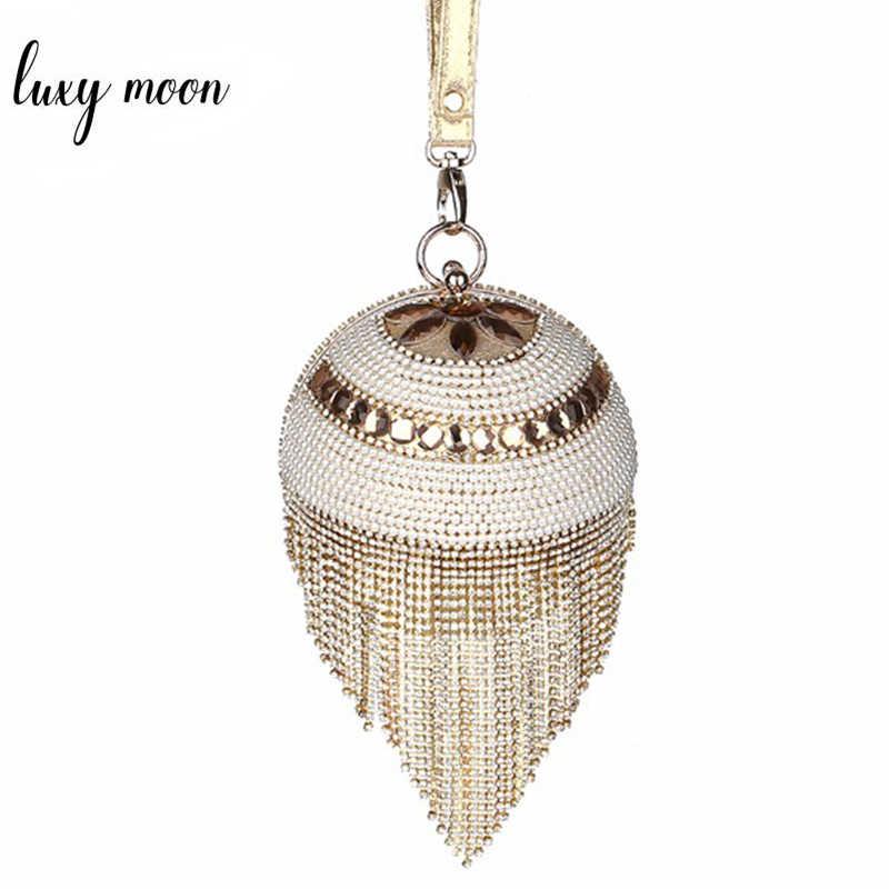 luxury diamond tassel evening Bag pearls day clutch Ladies full dress party  purse chain handbags gold 2916bd000177