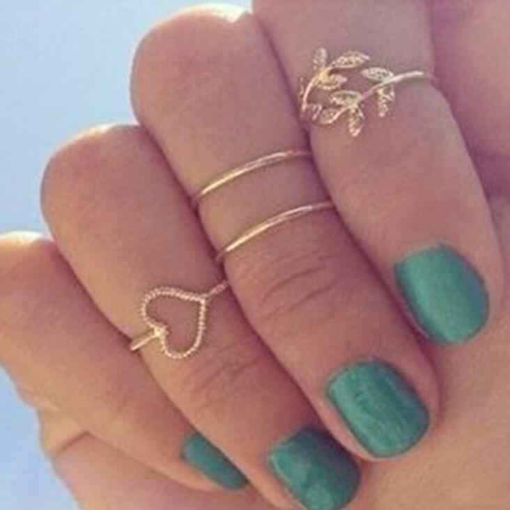 High Quality New 4pcs/Set Unique Ring Set Punk Cool style Gold Color Knuckle Rings for women midi Finger Knuckle rings Ring Set