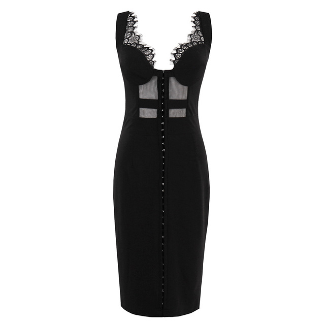 Plus Size Summer Gothic Dress Women Party Dress Solid Black Dresses Sheath Sexy Hollow Out Sleeveless Retro Bodycon Dresses