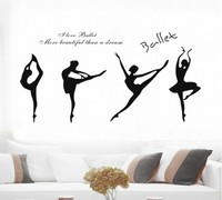Free Shipping Yoga Practice Ballet Dance House Music Classroom Training School Gym Backdrop Art Stickers