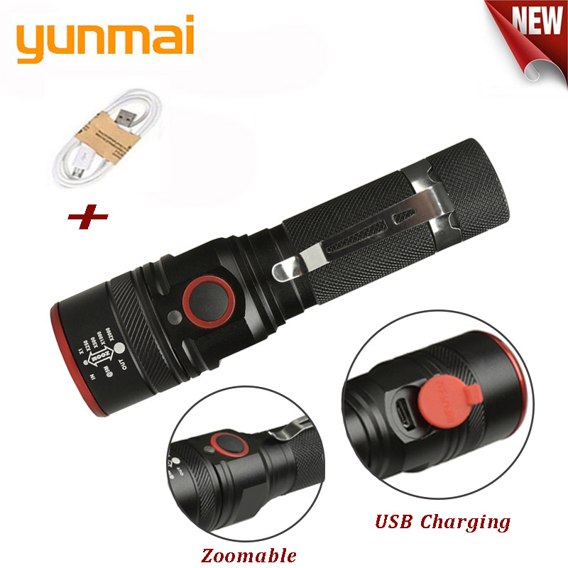 Image 2 - yunmai USB Rechargeable Flashlight T6 Led Flash light Zoomable 3 modes torch for 18650 with USB cable Camping fishing running-in LED Flashlights from Lights & Lighting