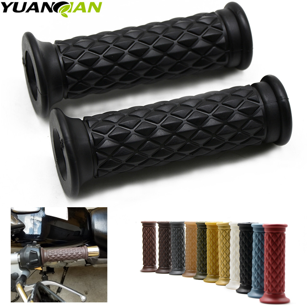 Vintage Retro Hand Grip Motorcycle Grips 7 8 quot 22mm Brown Diamond Handlebar Hand Grip and Bar Ends in Grips from Automobiles amp Motorcycles