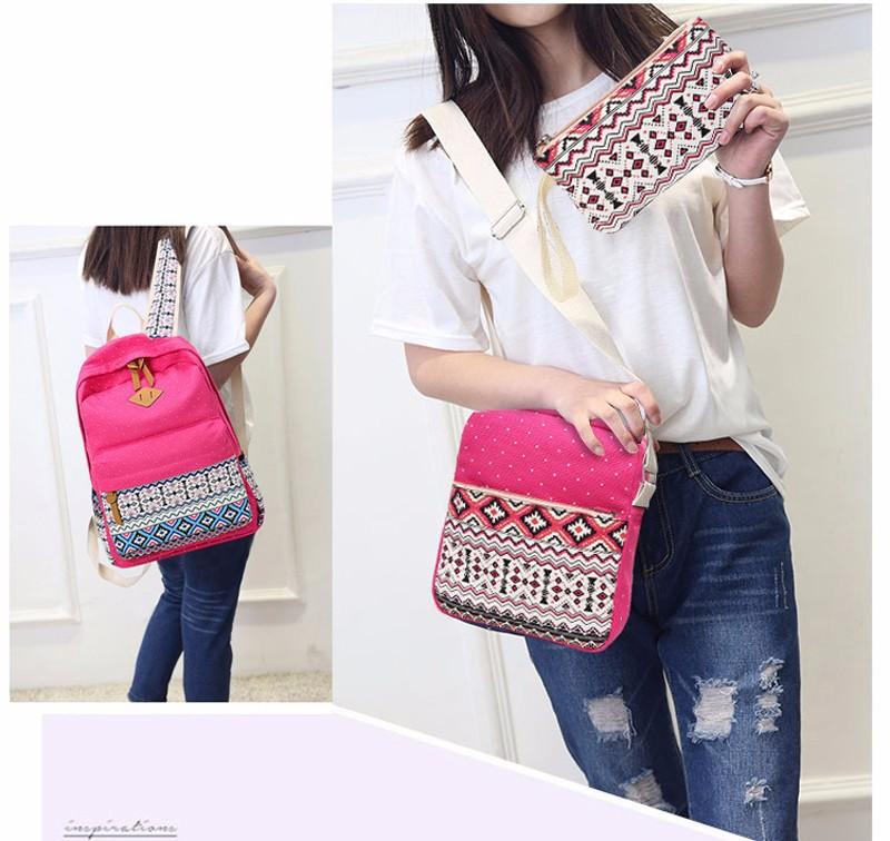 Canvas Printing Backpack Women School Bags for Teenage Girls Cute Bookbags Laptop Backpacks Female Bagpack 3 Piece one Set 1