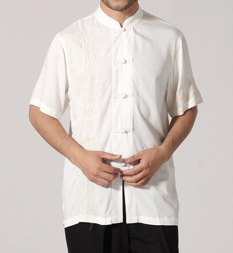 Черный традиционный китайский стиль Мужская рубашка Кунг-фу топ с короткими рукавами одежда Размер S M L XL XXL XXXL Mny-03C
