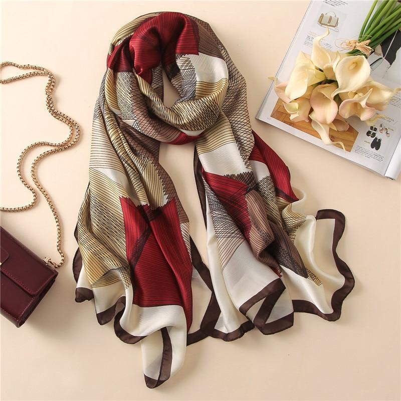 Women Silk Scarf Geometric Large Shawl Soft Blanket Wrap Fashion Luxury Print Foulard [3226]
