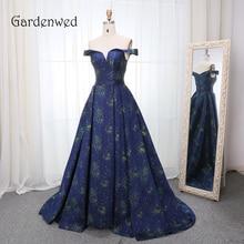 Gardenwed 2019 Deep Blue Print Elegant Evening Dress Long High Quality A Line Woman Formal Gown Dresses
