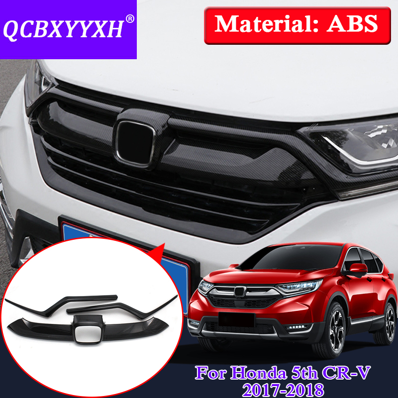 QCBXYYXH 3pcs Car Styling ABS Car Racing Grills Sequins External Decoration Frame For Honda 5th CR-V 2017 2018 Auto Accesories qcbxyyxh abs car styling for nissan terra navara np300 2018 2019 car navigation frame sequins internal decoration cover