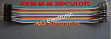 20pcs 20cm 2.54mm 1p-1p Pin Male to Male Color Breadboard Cable Jump Wire Jumper For Arduino