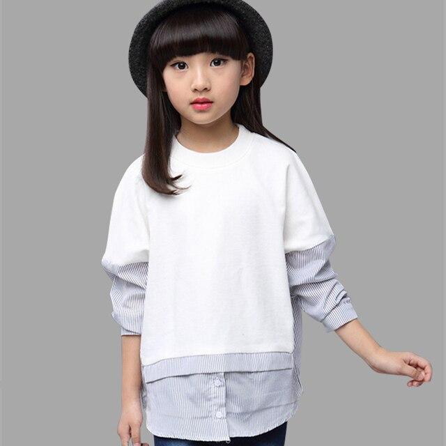 526a9450309 Детские Блузки для девочек одежда с круглым вырезом рубашки подростков  школьная одежда От 6 до 14