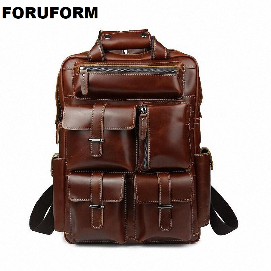 Multifunctional Oil Genuine Leather Backpack Men Backpack Fashion Male School Backpack Travel Bag Large Leather rucksack LI-1321 multifunction genuine leather backpack men backpack fashion male school backpack travel bag large leather rucksack big black