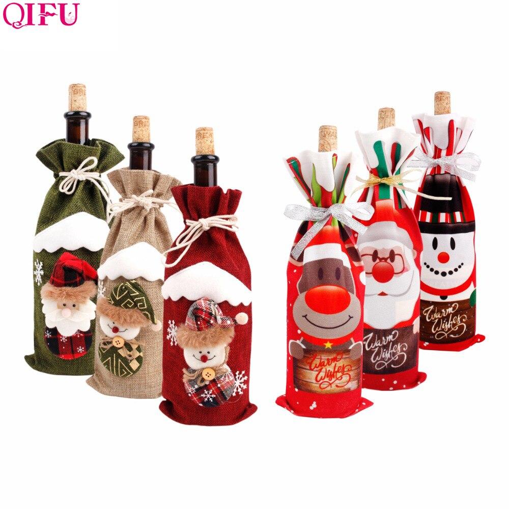 QIFU Санта Клаус крышки бутылки вина рождественские украшения для дома 2019 Рождественский орнамент с утолщённой меховой опушкой, натальные подарок Новый год 2020