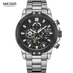 MEGIR wojskowe biznes zegarki kwarcowe mężczyźni Top marka Relogios Masculino zegar chronograf ze stali nierdzewnej na rękę mężczyzna 2108G w Zegarki kwarcowe od Zegarki na
