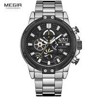 Megir 군사 비즈니스 석영 시계 남자 톱 브랜드 relogios masculino 시계 스테인레스 스틸 크로노 그래프 손목 시계 남자 2108g