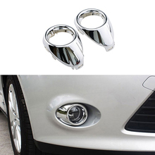 Car Styling Front Fog Lamp Frame Cover For Ford Focus 3 Accessories Abs Chrome 2pcs Per SetModified Head Fog Light Decoration
