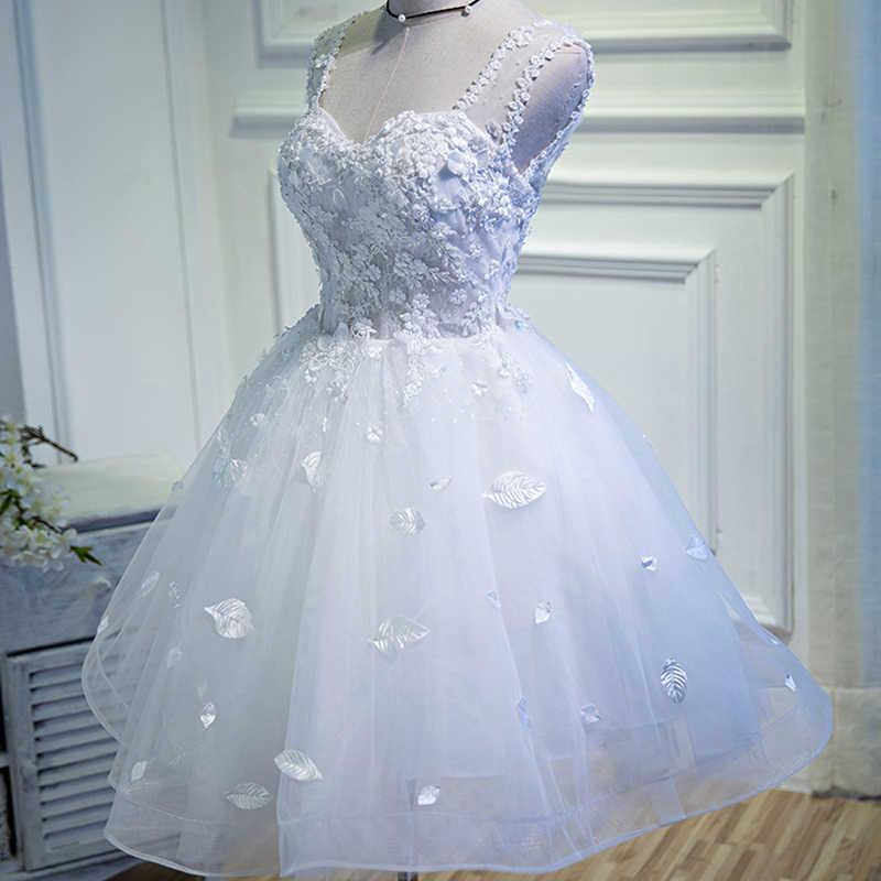 Axjfu Versión Coreana Novia Flor Encaje Vestidos De Noche Cortos Princesa Ilusión Hoja Blanca Vestidos De Noche Vestido Blanco Pequeño