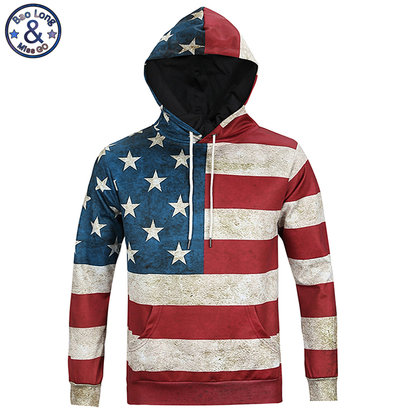 Mr.BaoLong newest both side America flag printed hooded sweatshirt men 's hip hop Harajuku Drawstring hoodies men H13