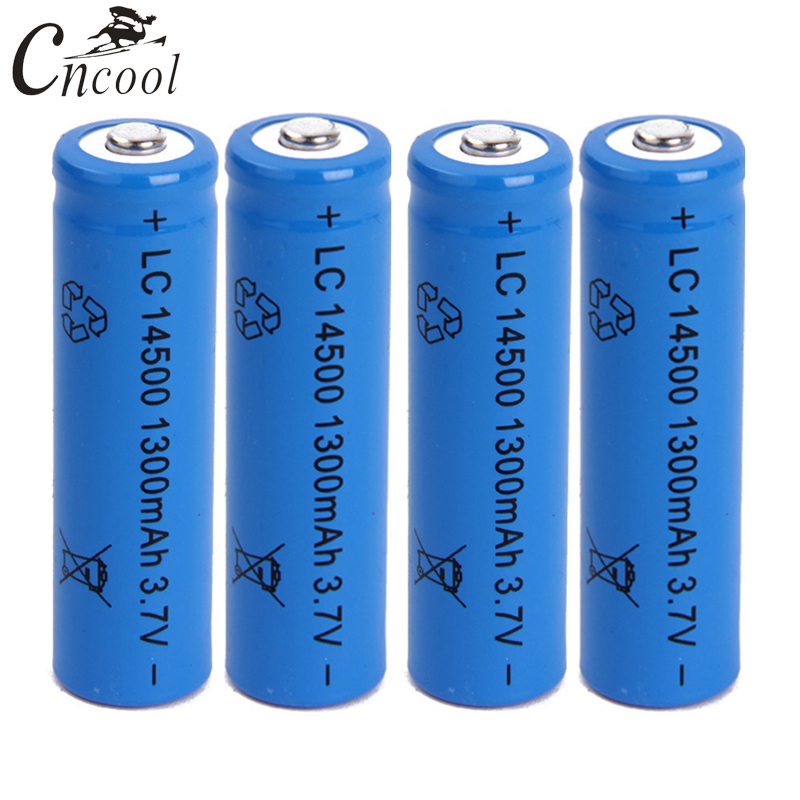 Cncool 50pcs 14500 battery 3.7V 1300mAh rechargeable li-ion battery for Led flashlight batery litio battery Accumulators
