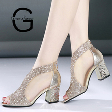01fee11b8f500d Summer Square Heel Women Sandals Bling 7cm Chunky High Heels Diamond Women  Shoes Wedding Shoes Leather