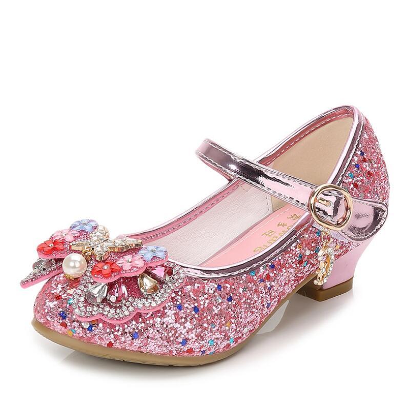 SKHEK Girl High Heels Pink Sandals Gold Blue Princess Children's Shoes Sequin Students Dance Shoes Kids Sandal size 27-37