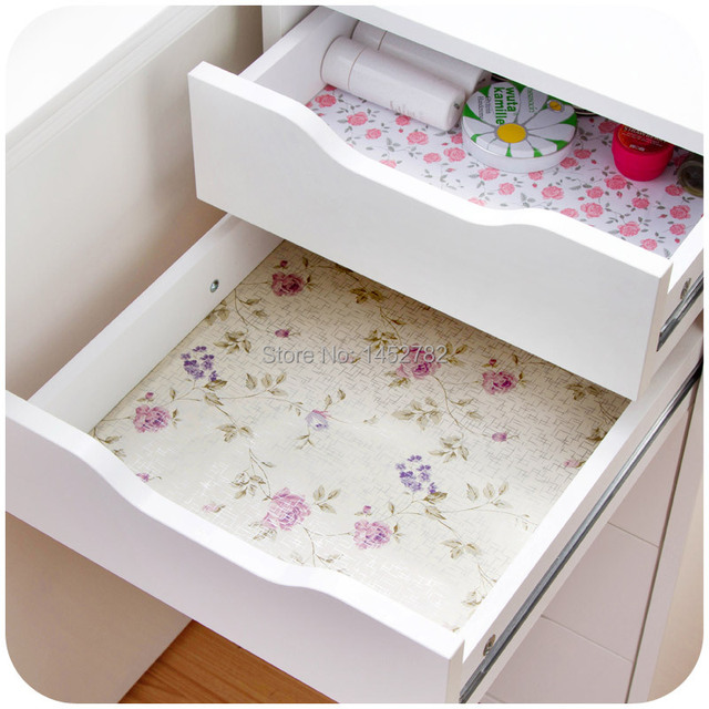 Pc Waterproof Self Adhesive Pastoral Floral Table Paper Drawer Paper Wardrobe Paper Sticker Moisture Wall
