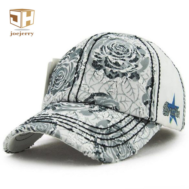 joejerry Fashion Girls Lace Baseball Cap Fitted Floral Embroidery Bone  Summer Caps Sun Hats For Women ea299902e9d
