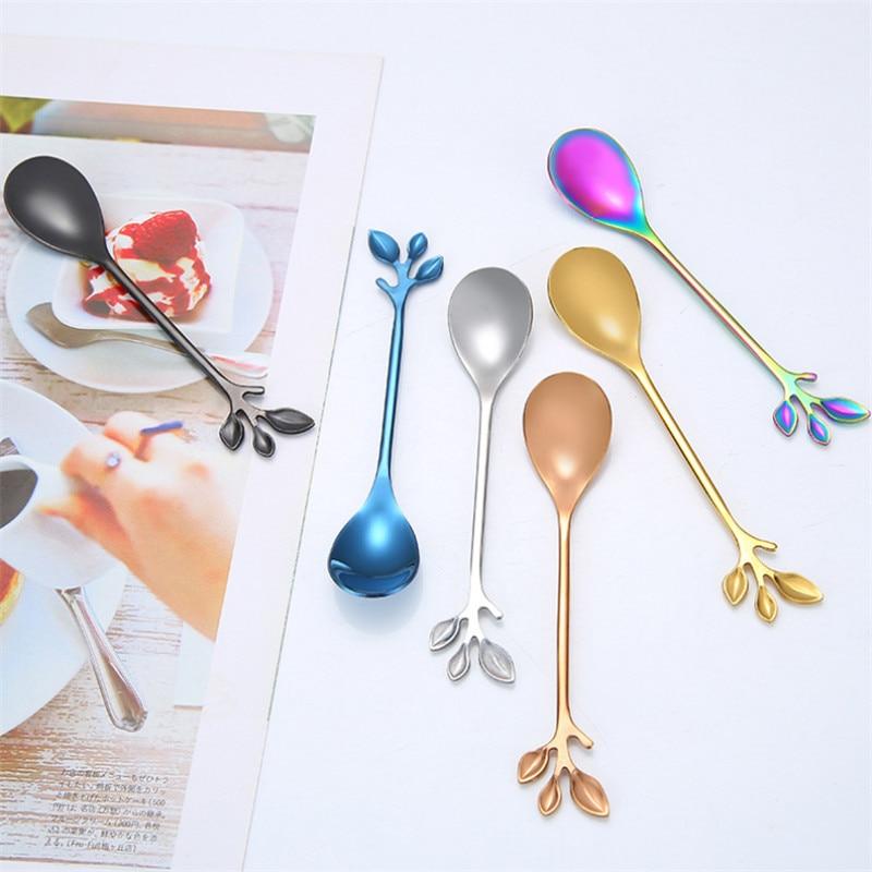 Retro Korean Coffee Spoon Fruit Forks 304 Stainless Steel Branch Pattern Short Handle Polishing Dessert Scoop Kitchen Tableware in Forks from Home Garden