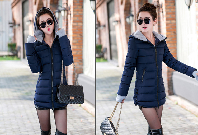 HTB1DZ3dX.EIL1JjSZFFq6A5kVXad 2019 women winter hooded warm coat slim plus size candy color cotton padded basic jacket female medium-long  jaqueta feminina