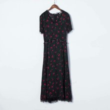 Popular new 2019 Limited Rushed Loose Print Half Dress Xdg65-596 European And American Fashion Cherry Printed Lace Dress
