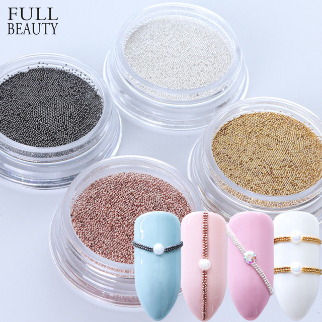 0.4mm 3D Micro Steel Beads Mixed Color Nail Art Decorations Mini Small Caviar DIY Charms Stud Manicure Accessory Nail Tool CH829