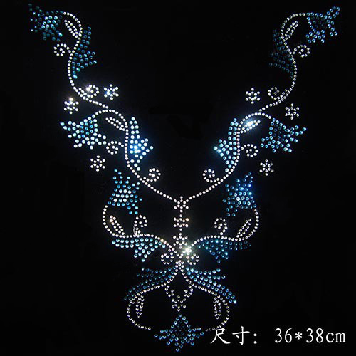 19e857f277 US $6.75 48% OFF|Clear Crystal Clothing collar DIY strass hotfix Rhinestone  applique Pattern motif Iron On Heat transfer Designs T shirts -in ...