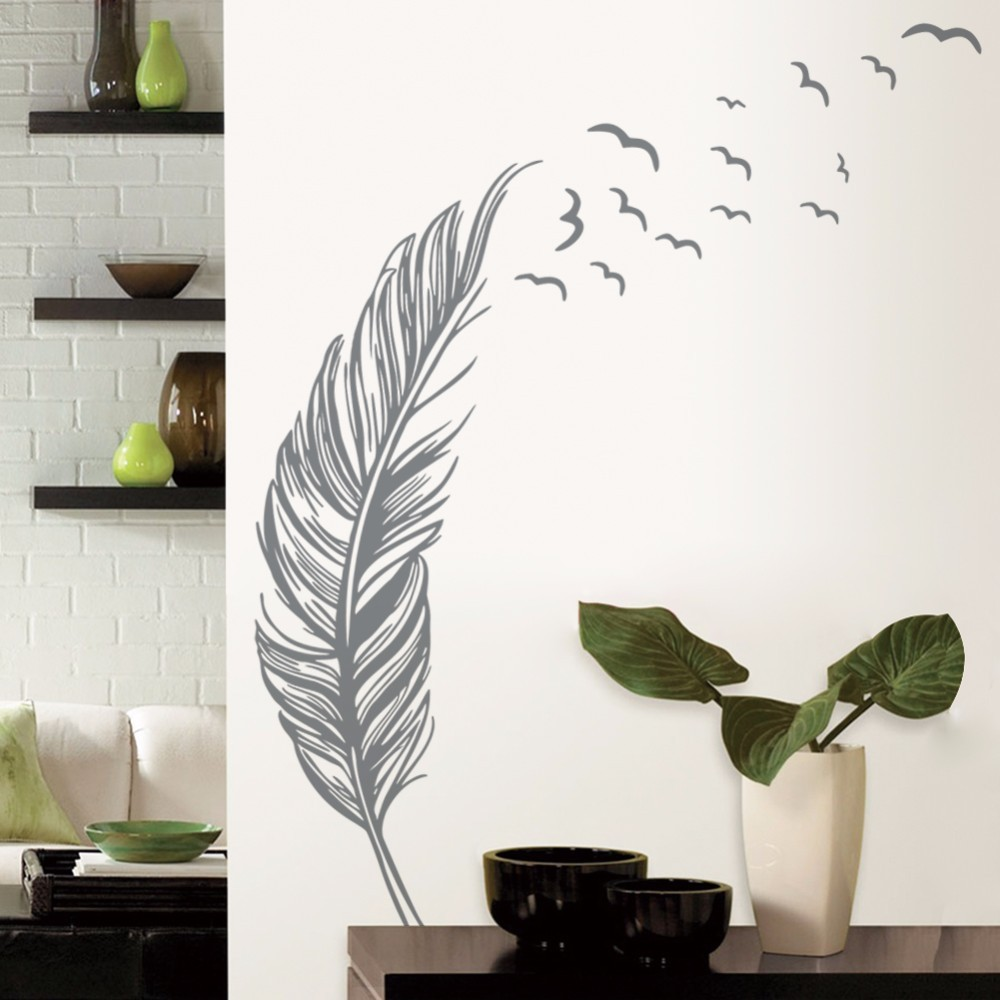Updated feather flying birds wall paper black white pvc removable updated feather flying birds wall paper black white pvc removable diy wall mural for room decoration vinyl art wall decals y 220 in underwear from mother amipublicfo Image collections