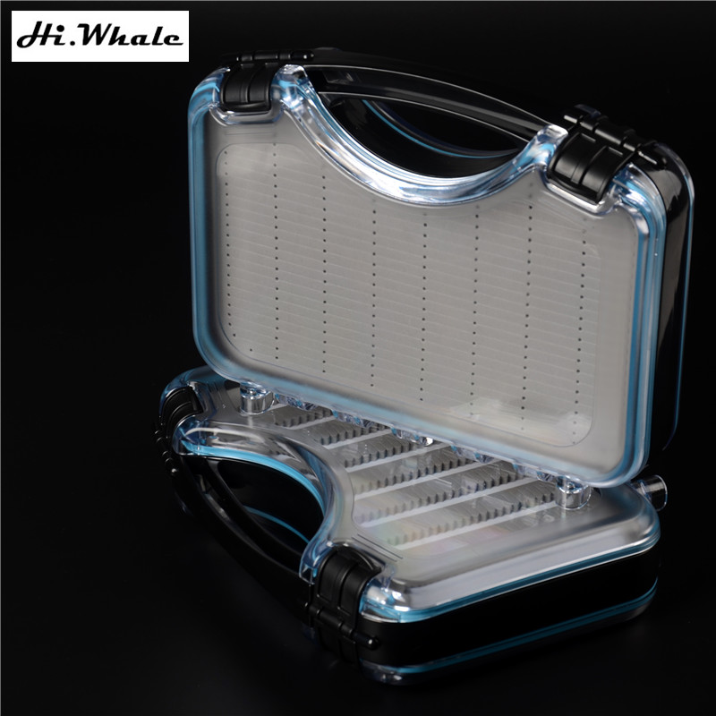 Hi.Whale New Fly fishing box with EVA Waterproof double open box Fly Fishing Fly Box lure fishing Suitcase коробка для мушек snowbee easy vue waterproof fly box large