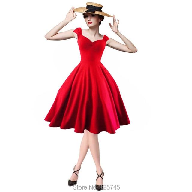 Vintage Audrey Hepburn Dress Summer Style Retro Women Rockabilly Swing Pinup  Short Sleeve Solid Slim Party vestidos Dresses c0de14f3a962