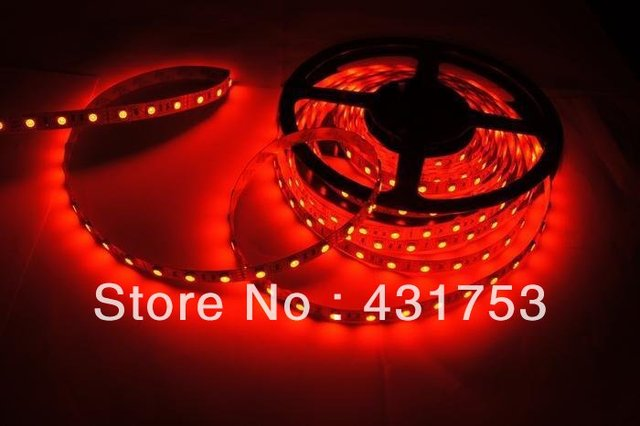 (Waterproof) 5meters/lot 5050 5m 300 Led SMD Led Strip Waterproof 60 Led per meter  White/Blue/Green/Red/Yellow/RGB