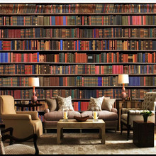 Custom wallpaper murals 3d bookshelf bookcase background wall - high-grade covering