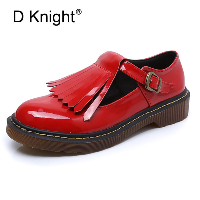 Plus Size 32-43 Patent Women Oxfords British New Creepers Platform Flats Casual Buckle Strap Loafers Ladies Shoes Woman Brogues hee grand solid patent leather women oxfords british new fashion platform flats casual buckle strap ladies shoes woman xwd5833