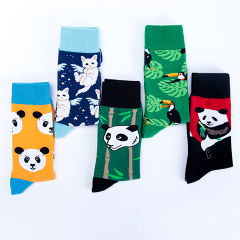 Men's Socks Just Crew Cool Cat Panda Bamboo Animal Premium Men Women Crazy Socks Happy Short Male Cotton Pop Crazy Female Winter Warm Socks