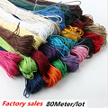 2016 Hot 80 Meter Waxed Cotton Beading 18 color Jewelry making Cord Rope 1mm For Bracelet Necklace Diy B00442