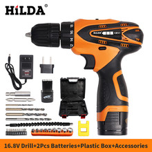 HILDA 16.8V Cordless Electric Drill Electric Screwdriver 2pcs Lithium Battery Power Tools with Accessories and Plastic Box